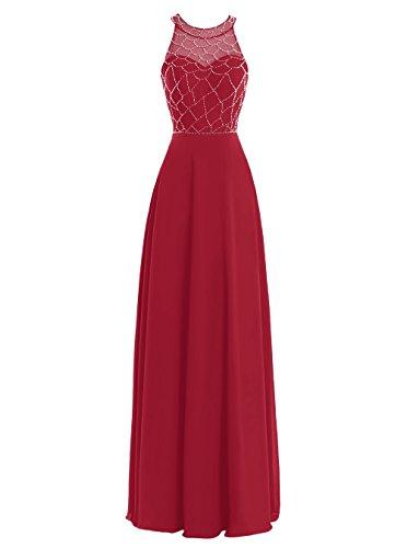 Dresstells, Robe de cérémonie Robe de soirée forme empire longueur ras du sol emperlée Rouge Foncé