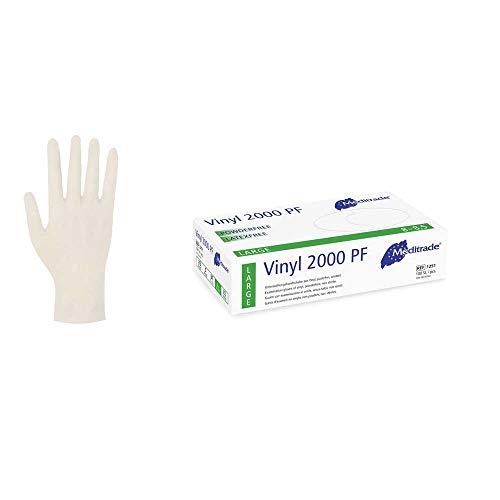 Meditrade Vinylhandschuh Einmalhandschuh Untersuchungshandschuh Vinyl 2000 PF, L, 100 Stück