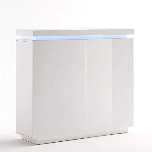 INSIDE Buffet Haut Ocean laqué Blanc Brillant 2 Portes LED Blanc Inclus