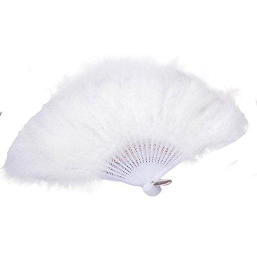 Showgirl Dancing - Abanico de mano plegable, diseño de plumas, estilo vintage,...
