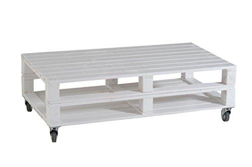 Castagnetti 1928 pallet tavolino rettangolare doppio con ruote, legno abete, bianco