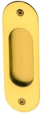 Poignée encastrable sans trou pour porte intérieure coulissante ou de meuble et placard en laiton poli brillant entraxe 100 mm, CUVETTE Ovale