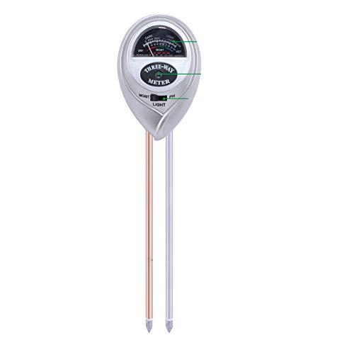 Rundkopf-Bodenmessgerät 3-in-1-Bodentester Hygrometer Zur Messung Des PH-Werts Von Silber Für Die Pflege Von Landwirtschaftlichen Gartenpflanzen (keine Batterie Erforderlich),White