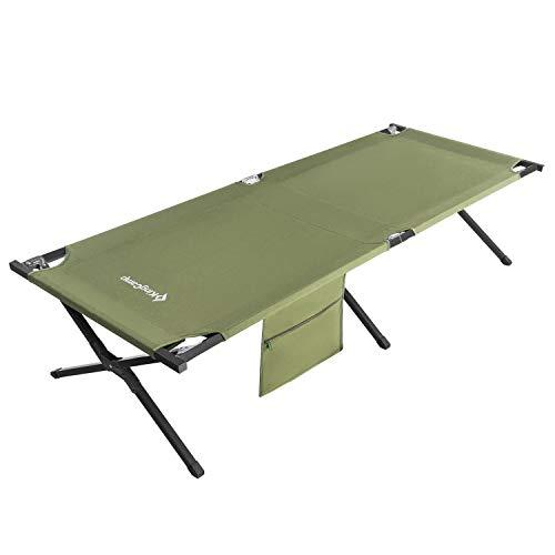 KingCamp XXXL Campingbett Feldbett mit Seitentasche bis 120 kg belastbar 205 × 75 × 46 cm