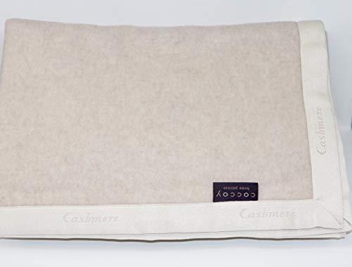 Coccoy coperta matrimoniale in pura lana vergine (25% cashmere e 75% lambswool di merino australiano) peso invernale 420 gr/mq linea lane pregiate art. taki var. beige cm. 270x230 maxi