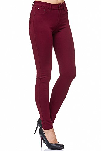 Elara Damen Stretch Hose | Skinny Jegging | Slim Fit | Chunkyrayan H23 Wine 42
