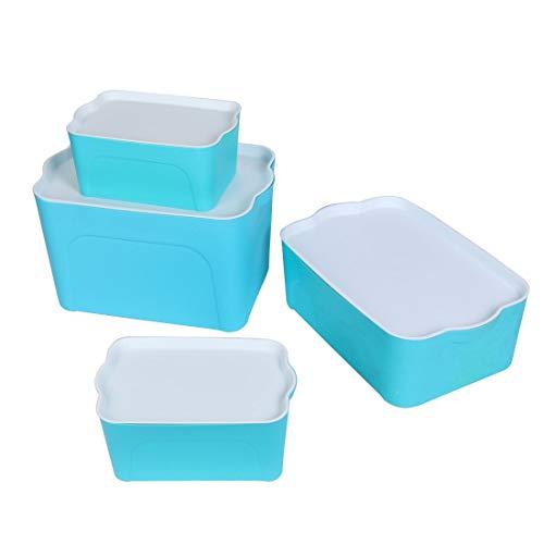 MiKi&Co Haus Kunststoff Rechteck Lebensmittel Speicher Kasten Behälter Blau 4 im1 (Rechteck-kunststoff-behälter)