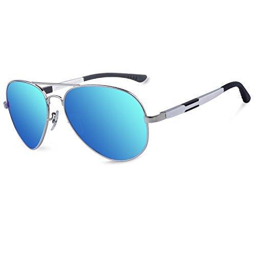 Duco Unisex Aviator Stil Polarisierte Sonnenbrille, Pilotenbrille mit Federscharnier, Etui und Putztuch, 3026
