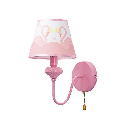ndlampe Mit 5W LED Weißes Licht Mit Pull-Schalter Bett Kopf Warm Spiegel Scheinwerfer Einfache Moderne Wand Lampe Rosa Mädchen Kinder Beleuchtung Ideen ()