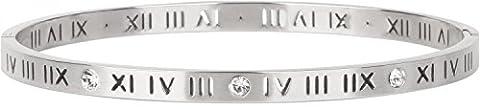 styleBREAKER Edelstahl Armreif graviert und Strass besetzt, Clipverschluss Armband, Schmuck, Damen 05040103, Farbe:Silber