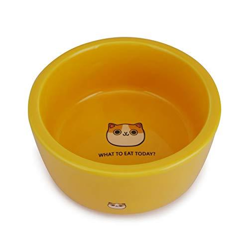CHEN. PET Bowl-Macarons Super Cute Cartoon Ceramic Cat Bowl Water Bowl Cat Bowl Schüsselware Mikrowelle Heizstoff-Lieferungen (Blau/Orange/Lila/Rot),Orange,M - Orange Mikrowelle