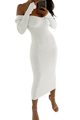 Le Donne Casual Da Spalla Corsetto Bodycon Matita Midi Vestito White