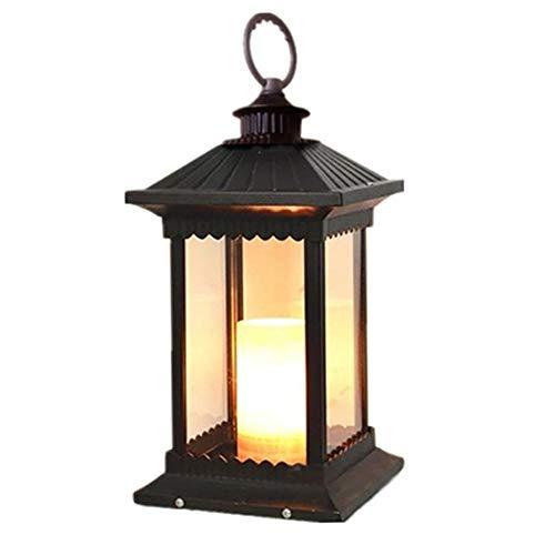 Magosca Glaslaterne Platz Im Freien Landschaft Beleuchtung Säule Lampe IP54 Wasserdichte Aluminium Säule Post Licht E14 Veranda Säule Retro Patio Straße Rasen Kerze Tischlampe -