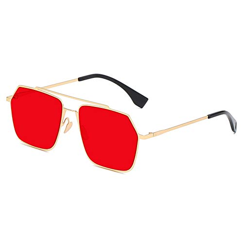 Z&HA Sechzgende Sonnenbrillen für Frauen-Doppel-Brücken-Metall-Rahmen und Gradientenlinsen UV400 Schutzbrillen für das Fahren,Red