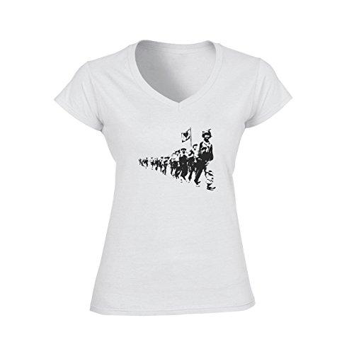 Love Terrorists Street Art Damen V-Neck T-Shirt Weiß