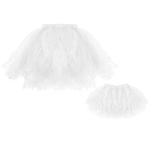 Lazzboy Mommy & Me Hohe Qualität Plissee Tutu Ballett Röcke Fancy Party Rock(M,Weiß)
