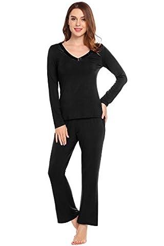 ADOME Damen Basic Schlafanzug V-Ausschnitt Zweiteiliger Lang Pyjama Weich Hausanzug Schwarz L