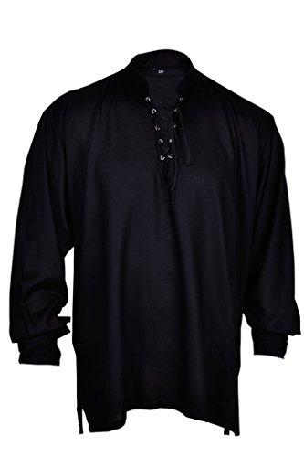 Renaissance beiläufiges Sommer-Piraten-Hemd Schwarze Farbe Mittelalterlichen Kostüm Männer/Frauen (S) Größe