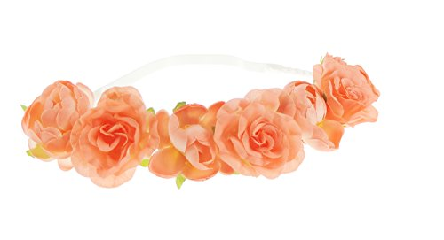 Ladies Large Rose Festival Boho Bridal Flower Elastic Browband Bandeaux Coral by Glamour Girlz