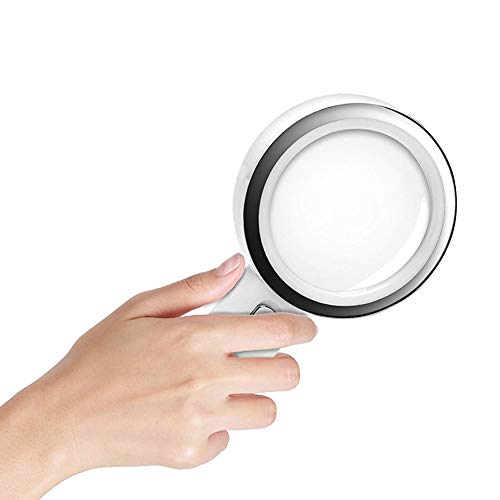 Lupe Vergrößerung 10X Handlupe Glas, 80mm Hohe Vergrößerung Glaslinse, 12 LED Beleuchtung...