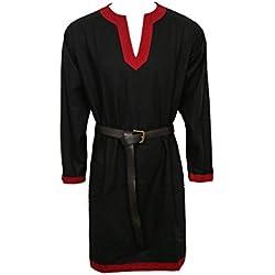 Nofonda Túnica Medieval para Hombre - Camisa de Vestir, Estilo Caballero, Disfraz de Halloween Cosplay, Fiestas, Navidad, Larp (Negro, M)