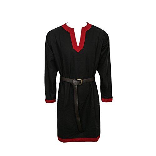 Nofonda Tunica Medievale per Uomo - Camicia Elegante, Stile Cavaliere, Costume Cosplay di Halloween, Feste, Natale, LARP (Nero, XXL)