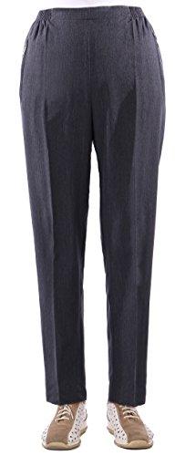 Eingreifen, Pflege (Damen Seniorenhose Schlupfhose mit Gummizug Kurzgröße ideal für pflegebedürftige Omas einfach anzuziehen und super pflegeleicht (36/38, dunkelgrau meliert))
