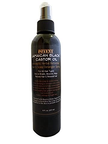 Potent Jamaican Black Castor Oil Antiseptic Herbal Refresher Hair and Scalp Detangler Spray For All Hair Types, Use on Braids, Weaves, Wigs, Natural and Relaxed