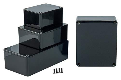 MB5 - ABS Kunststoffgehäuse mit Deckel, Mehrzweckgehäuse, Modulgehäuse, (LxBxH) 150 x 100 x 60 mm, mit Leiterplattenführung, Schwarz - Poliert
