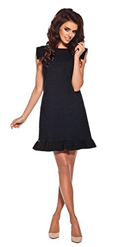 Lemoniade extravagantes Kleid mit ausgefallenen, kurzen Ärmeln und Rüschen-Saum, schwarz, Gr. L -
