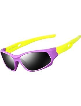 ATTCL Unisex-niños Deportes Gafas De Sol Polarizado Uv400 Protección Súper Ligero años 3-12 5025-purple-yellow