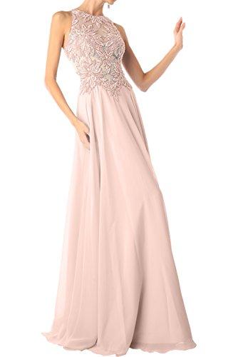 Charmant Damen Himmel Blau Chiffon Langes Abendkleider Ballkleider Festlichkleider mit Spitze Perlen Rosa