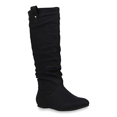 Stiefelparadies Damen Schlupfstiefel Warm Gefütterte Stiefel Nieten Winter Schuhe 153347 Schwarz Arriate 39 | Flandell® (Flache Stiefel Damen)