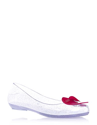 GUESS - Ballerina argentata interamente in pvc, made in Italy, in omaggio borsetta trendy, con punta tonda, Bambina, Ragazza, Donna-39
