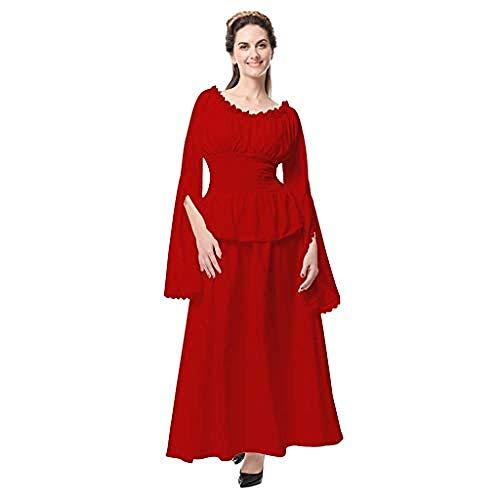 Red Einfach Kostüm Queen - xbowo-dress Womens Vintage Maxi Kleider Retro Renaissance mittelalterlichen Kostüm viktorianischen Queen Fancy Party Abendkleid aus Schulter Langarm Prinzessin Kleid@Red_M