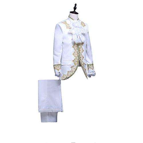 Nuoqi Prinz Herren Renaissance mittelalterliche Cosplay Kostüm Erwachsene (L, (Prom 80er Männer)