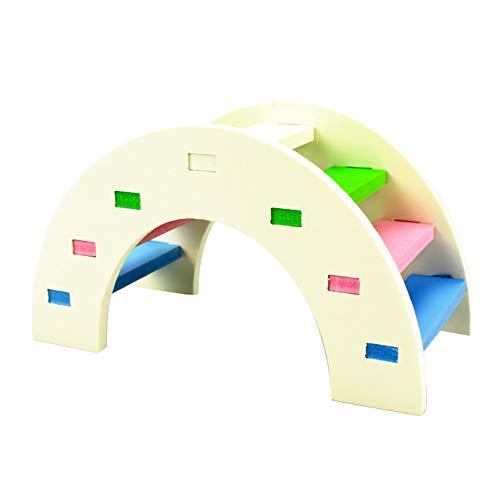 Toruiwa Hamster Spielzeug Hölzerne Bunte Klettern Brücke Zubehör für Hamster Kleintiere Meerschweinchen Chinchilla Nager Mäuse Spielzeug (Weiß) - Spielzeug Hamster Klettern