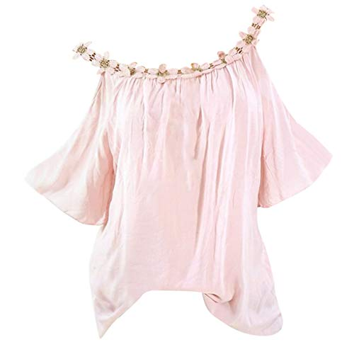 Bringbring Damen Bluse Einfarbig Schulterfrei Kurzarm Damenblusen Tunika Blusenshirt Hemd Elegant Oberteile Tops T-Shirt -