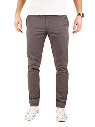 Yazubi Chinos Pantalones Slim Fit - Dustin - para Hombre Chino Casual Cotton Plateado Oscuro, Gris (Magnet 4R193901), W33/L34
