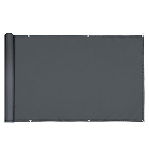 Deuba Windschutz 5m   UV-Schutz 50+   wasserabweisend   Sichtschutz Balkonbespannung Balkonsichtschutz   einfache Montage   waschbar   500cm x 90 cm Anthrazit