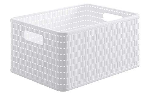 Rotho Country - Caja de almacenaje con efecto de mimbre, Blanco, A4