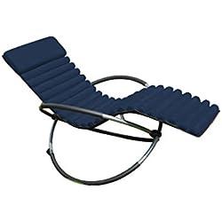 LECO Chaise à Bascule Coussin Coussin, Bleu foncé, Longueur: env. 173cm Largeur: env. 55cm Hauteur: env. 5cm