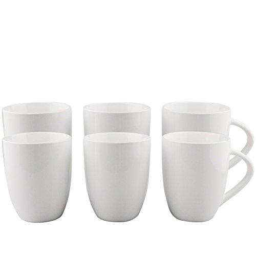 6er Set weiße Keramik Kaffeetassen ohne Druck - zum bemalen und basteln geeignet - Simple Kaffeebecher zum Personalisieren - 300ml - Tassen/Becher/Pott für Kaffee, Tee und mehr - Basic Becher Tasse Set
