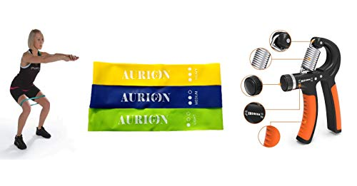 Aurion LB+Grip Elasticized-Fabric Resistance Loop Band with Hand Grip (Yellow)