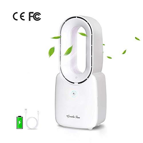 Inmorven Lüfterloser Lüfter,USB-Tragbar-Sicherheit Lüfter Stumm Ventilator 4 Geschwindigkeiten Wind Desktop Büro-Schlafzimmer Mit Nachtlicht Kinderfreundlich (Weiß)