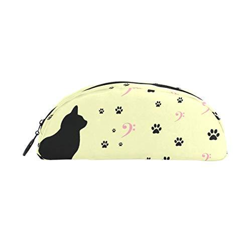 el Schwarze Katze Tier Pfoten Halbkreis für Jungen Kinder Teens Stifthalter Kosmetik Make-up Tasche Schreibwaren Beutel Beutel mit großer Kapazität ()