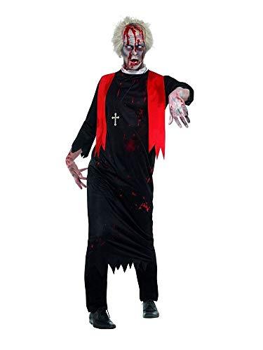 shoperama Zombie Hohepriester Herren-Kostüm mit Kreuz-Kette Tunika Kutte Stola Blut Priester Untoter Kirche Halloween Horror, Größe:M/L