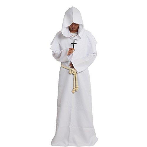 �nch Kostüm Robe Mönch Mittelalterliche Kapuze Kapuzenmönch Renaissance Robe Kostüm (Weiß, M) ()