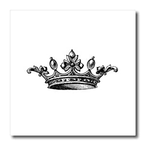 3dRose Majestic Black and White Drawing-Royal Tiara-Like Crown-Vintage Art-King Queen Princess Iron on Heat Transfer, Multi-Colour, 10 x 10-Inch