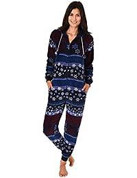 b1425c3707 Normann Copenhagen Lässiger Damen Fleece Onesie mit Bündchen an Ärmel und  Bein, kuscheliger Jumpsuit in